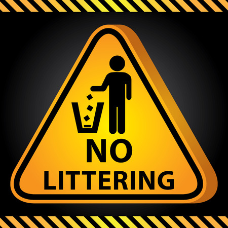 littering: 3D Yellow Glossy Style Triangle Caution Plate For Safety Present By No Littering With No Littering Sign in Dark Background Stock Photo