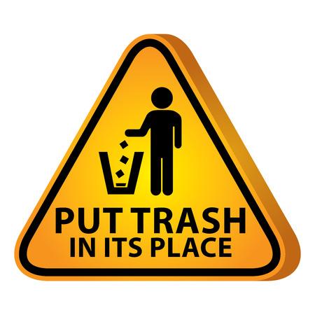 tirar basura: 3D amarillo brillante Estilo Tri�ngulo Precauci�n Plate Por Presente Seguridad Por Trash poner en su lugar Con Tirar basura signo aislado sobre fondo blanco