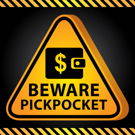 pickpocket: 3D Yellow Glossy Style Triangle Caution Plate For Safety Present By Beware Pickpocket With Purse or Wallet Sign in Dark Background Stock Photo