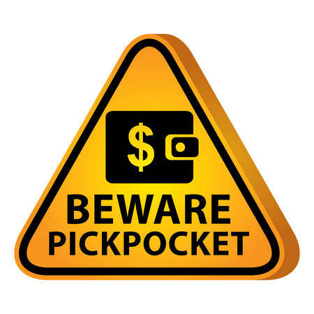 pickpocket: 3D Yellow Glossy Style Triangle Caution Plate For Safety Present By Beware Pickpocket With Purse or Wallet Sign Isolated on White Background