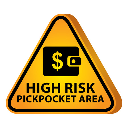 pickpocket: 3D Yellow Glossy Style Triangle Caution Plate For Safety Present