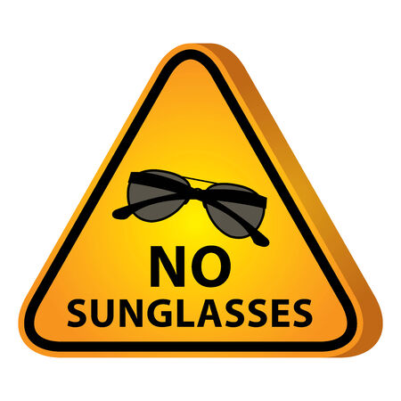 3D Yellow Glossy Style Triangle Caution Plate For Safety Present By No Sunglasses With Sunglasses Sign photo