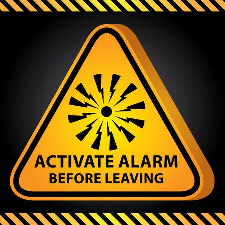 uaktywnić: 3D Żółty Błyszczący Triangle Style Ostrzeżenie Płyta dla obecnych bezpieczeństwa przez uruchamiać alarm Zanim opuścisz z alarmem Zaloguj Ciemnym Tle