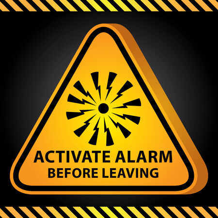 activate: 3D Yellow Glossy Style Triangle Caution Plate For Safety Present By Activate Alarm Before Leaving With Alarm Sign in Dark Background
