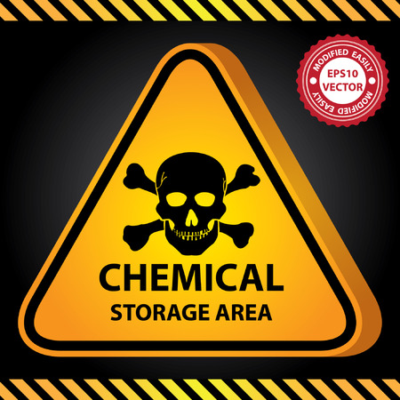 Vector : 3D Yellow Glossy Style Triangle Caution Plate For Safety Present By Chemical Storage Area With Skull Sign in Dark Background Vector