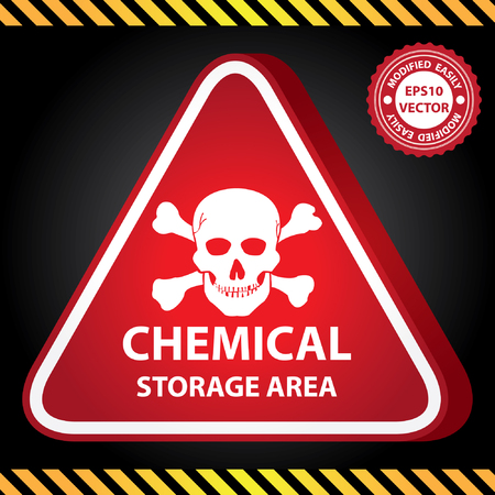 hazardous area sign: Vector : 3D Red Glossy Style Triangle Caution Plate For Safety Present By Chemical Storage Area With Skull Sign in Dark Background Illustration