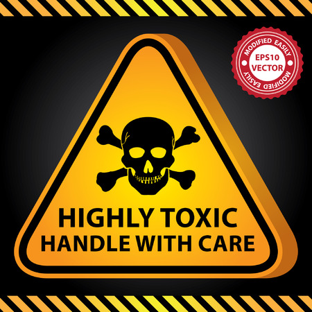 lpg: Vector : 3D Yellow Glossy Style Triangle Caution Plate For Safety Present By Highly Toxic Handle With Care With Skull Sign in Dark Background