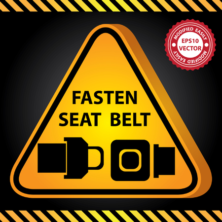 Vector : 3D Yellow Glossy Style Triangle Caution Plate For Safety Present By Fasten Seat Belt With Seat Belt Sign in Dark Background Vector