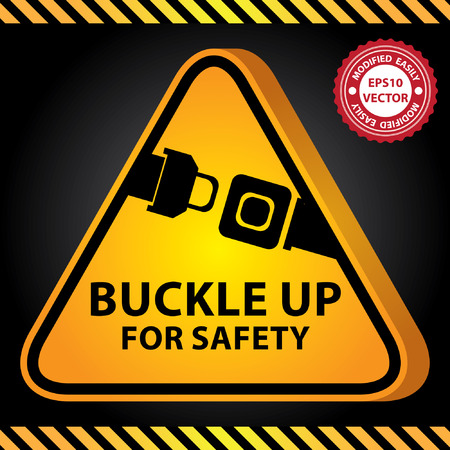 belt up: Vector : 3D Yellow Glossy Style Triangle Caution Plate For Safety Present By Buckle Up For Safety With Seat Belt or Safety Belt Sign in Dark Background Illustration