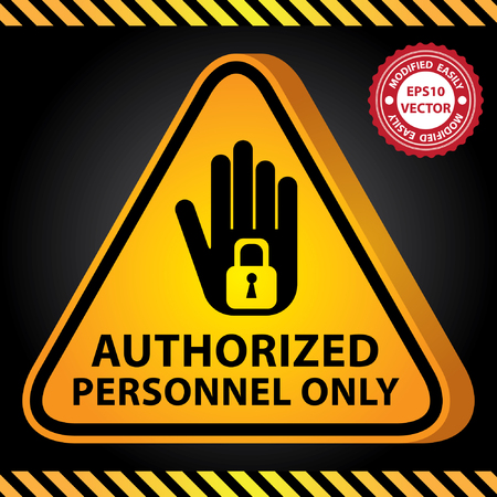 pass: Vector : 3D Yellow Glossy Style Triangle Caution Plate For Safety Present By Authorized Personnel Only With Hand and Key Lock Sign in Dark Background Illustration