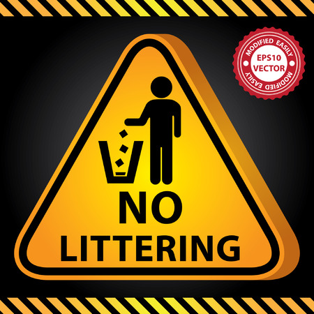 littering: Vector : 3D Yellow Glossy Style Triangle Caution Plate For Safety Present By No Littering With No Littering Sign in Dark Background
