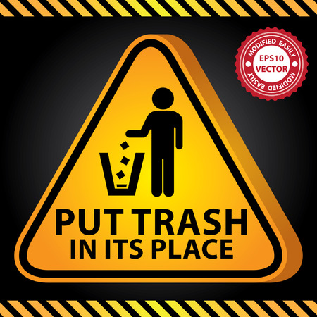 littering: Vector : 3D Yellow Glossy Style Triangle Caution Plate For Safety Present By Put Trash in Its Place With Littering Sign in Dark Background