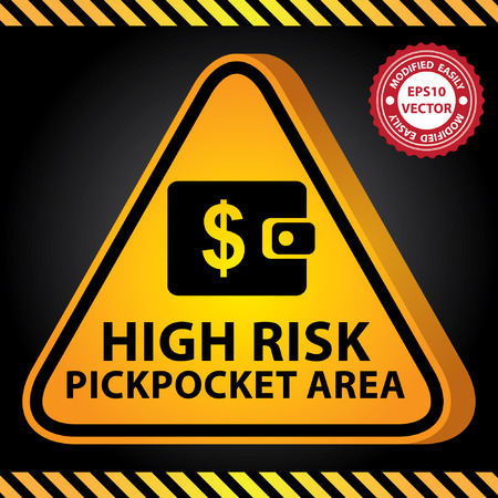 pickpocket: Vector : 3D Yellow Glossy Style Triangle Caution Plate For Safety Present By High Risk Pickpocket Area With Purse or Wallet Sign in Dark Background