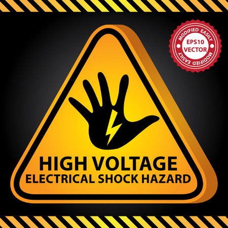 warning signs: Vector : 3D Yellow Glossy Style Triangle Caution Plate For Safety Present By High Voltage Electrical Shock Hazard With Hand and Electric or Thunderbolt Sign in Dark Background