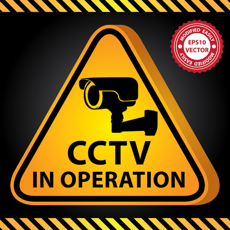 operation for: Vector : 3D Yellow Glossy Style Triangle Caution Plate For Safety Present By CCTV in Operation With CCTV or Surveillance Camera Sign in Dark Background