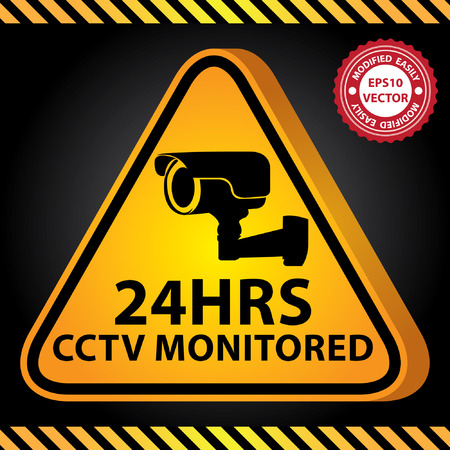 caution cctv: Vector : 3D Yellow Glossy Style Triangle Caution Plate For Safety Present By 24HRS CCTV Monitored With CCTV or Surveillance Camera Sign in Dark Background