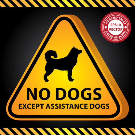 Vector : 3D Yellow Glossy Style Triangle Caution Plate For Safety Present By No Dogs Except Assistance Dogs With Dog Sign in Dark Background Ilustração