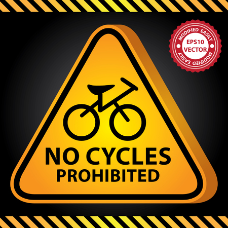 cross street with care: Vector : 3D Yellow Glossy Style Triangle Caution Plate For Safety Present By No Cycles Prohibited With Bicycle Sign in Dark Background
