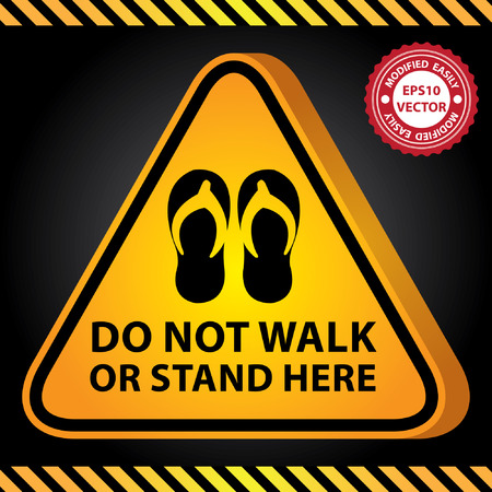 no trespassing: Vector : 3D Yellow Glossy Style Triangle Caution Plate For Safety Present By Do Not Walk or Stand Here With Sandals, Slippers, Thongs or Flip-Flops Sign in Dark Background Illustration