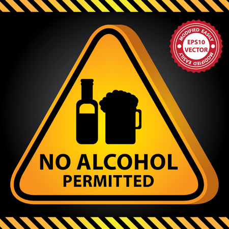 Vector : 3D Yellow Glossy Style Triangle Caution Plate For Safety Present By No Alcohol Permitted With Alcohol, Liquor or Beer Sign in Dark Background Vector