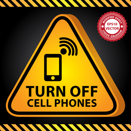 cell phones not allowed: Vector : 3D Yellow Glossy Style Triangle Caution Plate For Safety Present By Turn Off Cell Phones With Mobile Phone, Cellular Phone or Smart Phone Sign in Dark Background Illustration