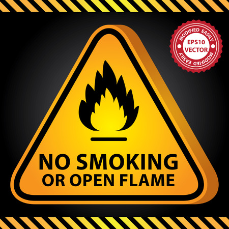 Vector : 3D Yellow Glossy Style Triangle Caution Plate For Safety Present By No Smoking or Open Flame With Flame Sign in Dark Background