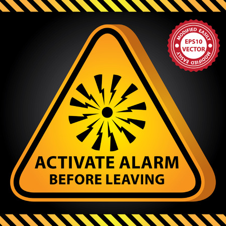 activate: Vector : 3D Yellow Glossy Style Triangle Caution Plate For Safety Present By Activate Alarm Before Leaving With Alarm Sign in Dark Background Illustration