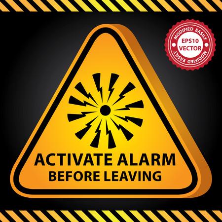 uaktywnić: Wektor: 3D Żółty Błyszczący Triangle Style Ostrzeżenie Płyta dla obecnych bezpieczeństwa przez uruchamiać alarm Zanim opuścisz Z Alarm Zarejestruj się w ciemnym tle