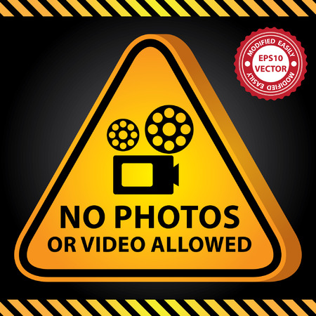 vdo: Vector : 3D Yellow Glossy Style Triangle Caution Plate For Safety Present By No Photos or Video Allowed With VDO Camera Sign in Dark Background