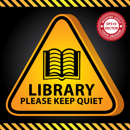 Vector : 3D Yellow Glossy Style Triangle Caution Plate For Safety Present By Library Please Keep Quiet With Open Book Sign in Dark Background Illustration
