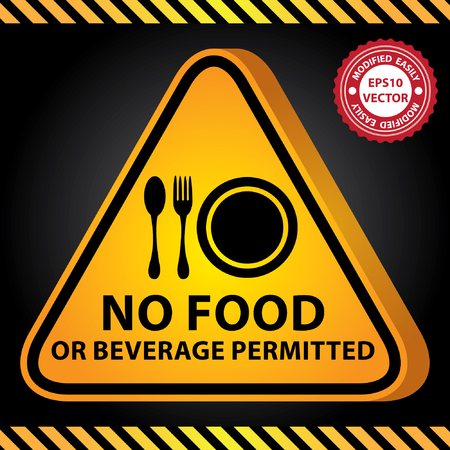 permitted: Vector : 3D Yellow Glossy Style Triangle Caution Plate For Safety Present By No Food or Beverage Permitted With Food Sign in Dark Background Illustration