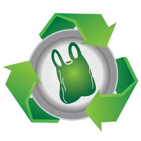 재활용, 지구를 저장 또는 글로벌 온난화 개념을 중지 녹색 재활용 선물 기호 안에 플라스틱 가방 아이콘 안에 흰색 배경에 격리 됨