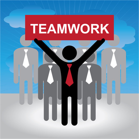 harmonize: Business and Financial Concept Present By Group of Businessman With Red Teamwork Sign on Hand in Blue Sky Background