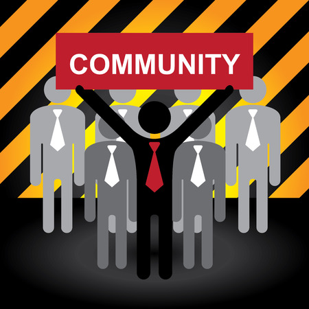 harmonize: Business and Financial Concept Present By Group of Businessman With Red Community Sign on Hand in Caution Zone Dark and Yellow Background