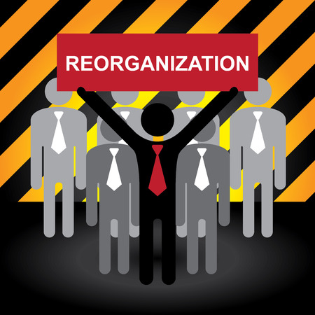 re employment: Business and Financial Concept Present By Group of Businessman With Red Reorganization in Caution Zone Dark and Yellow Background