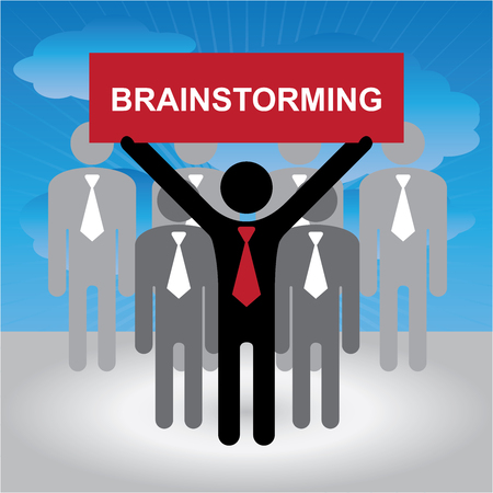 harmonize: Business and Financial Concept Present By Group of Businessman With Red Brainstorming Sign in Blue Sky Background