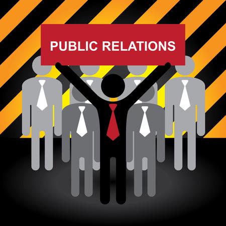 relations publiques: Des affaires, marketing ou financier Concept pr�sentes par groupe d'affaires avec Red relations publiques Connexion Attention Dark Zone et sur fond jaune