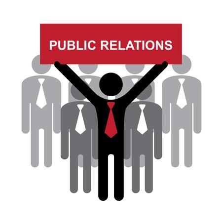 relations publiques: Des affaires, marketing ou financi�re Concept pr�sentes par groupe de affaires avec Red Relations Publiques signe isol� sur fond blanc