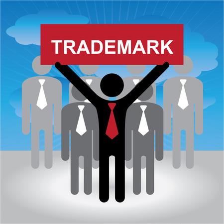 비즈니스, 마케팅 또는 금융 개념 푸른 하늘 배경에서 빨간색 상표 기호로 사업가 그룹에 의해 제시