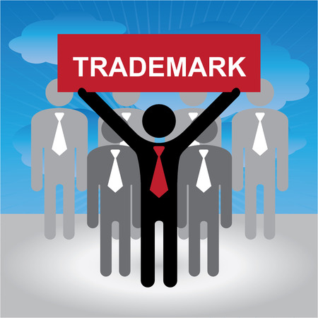 trademark: Business, Marketing or Financial Concept Present By Group of Businessman With Red Trademark Sign in Blue Sky Background