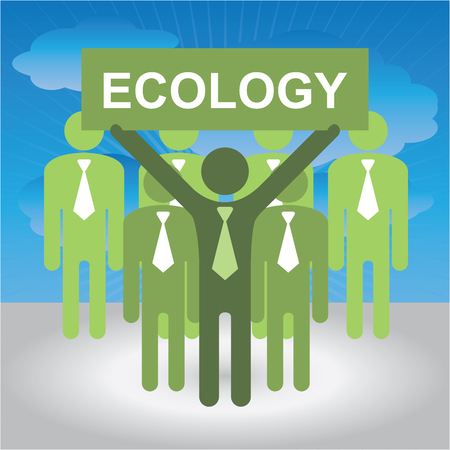 environmental pollution: Recycle, Save The Earth or Stop Global Warming Concept Present By Group of Businessman With Green Ecology Sign in Blue Sky Background Stock Photo