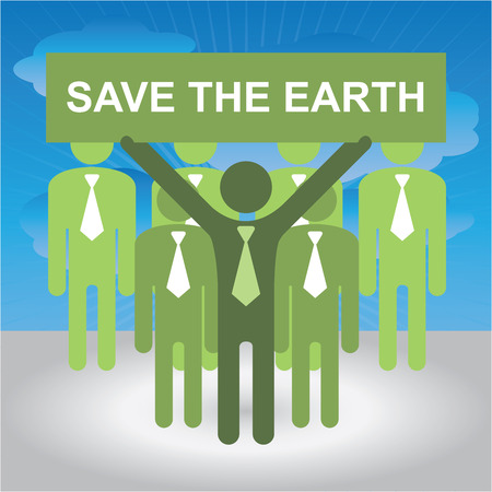 stop global warming: Recycle, Save The Earth or Stop Global Warming Concept Present By Group of Businessman With Green Save The Earth Sign in Blue Sky Background Stock Photo