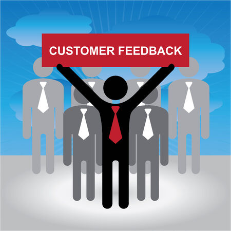 constructive: Quality Management Systems, Quality Assurance and Quality Control Concept Present By Group of Businessman With Red Customer Feedback Sign on Hand in Blue Sky Background