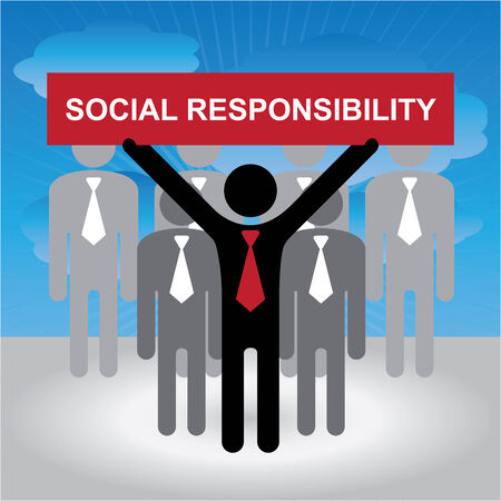 non profit: Business and Financial Concept Present By Group of Businessman With Red Social Responsibility Sign on Hand in Blue Sky Background Stock Photo