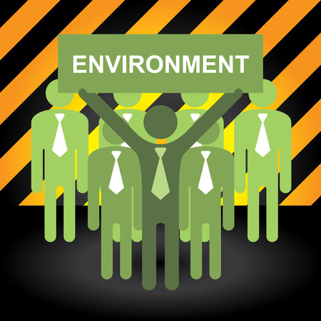 stop global warming: Recycle, Save The Earth or Stop Global Warming Concept Present By Group of Businessman With Green Environment Sign in Caution Zone Dark and Yellow Background