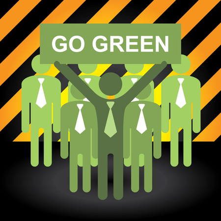 stop global warming: Recycle, Save The Earth or Stop Global Warming Concept Present By Group of Businessman With Green Go Green Sign in Caution Zone Dark and Yellow Background Stock Photo