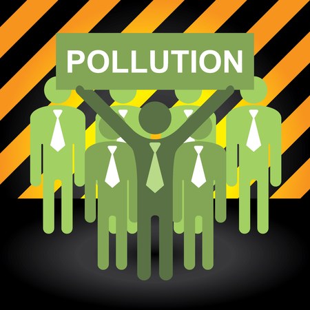 stop global warming: Recycle, Save The Earth or Stop Global Warming Concept Present By Group of Businessman With Green Pollution Sign in Caution Zone Dark and Yellow Background