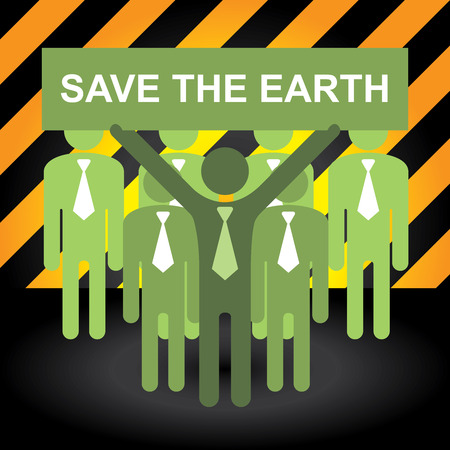 stop global warming: Recycle, Save The Earth or Stop Global Warming Concept Present By Group of Businessman With Green Save The Earth Sign in Caution Zone Dark and Yellow Background