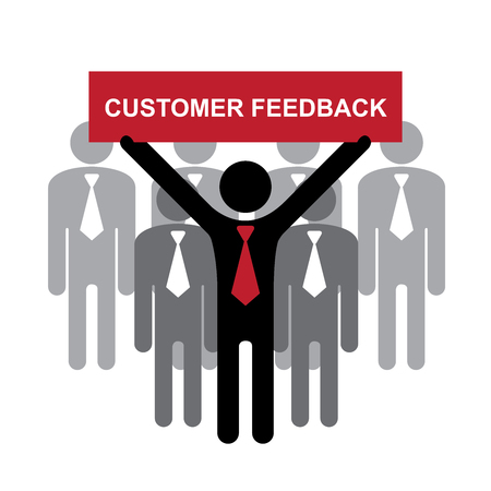 constructive: Quality Management Systems, Quality Assurance and Quality Control Concept Present By Group of Businessman With Red Customer Feedback Sign on Hand Isolated on White Background