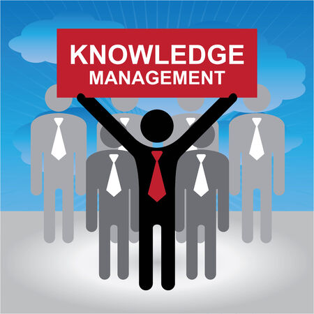 Knowledge Management or KM Concept Present By Group of Businessman With Red Knowledge Management Sign on Hand in Blue Sky Background photo
